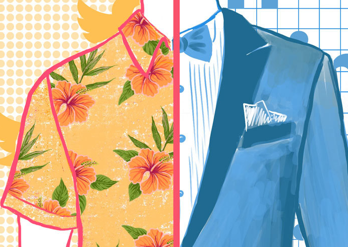 Colorful split screen illustration of man wearing a Hawaiian shirt on the left, and a suit on the right to help visualize concept of cross-promotion.