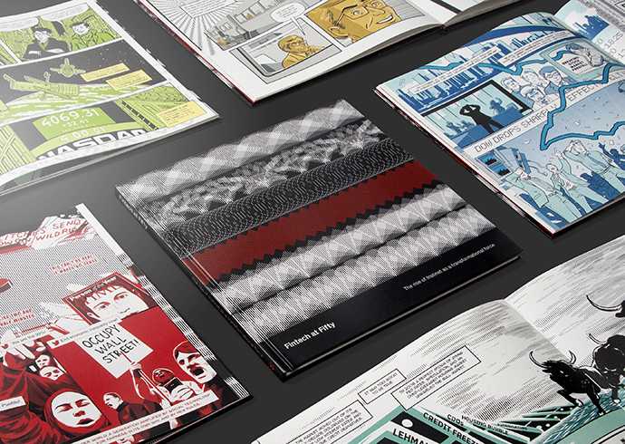 The cover and various illustrated pages for the Instinet Fintech a Fifty anniversary graphic novel.