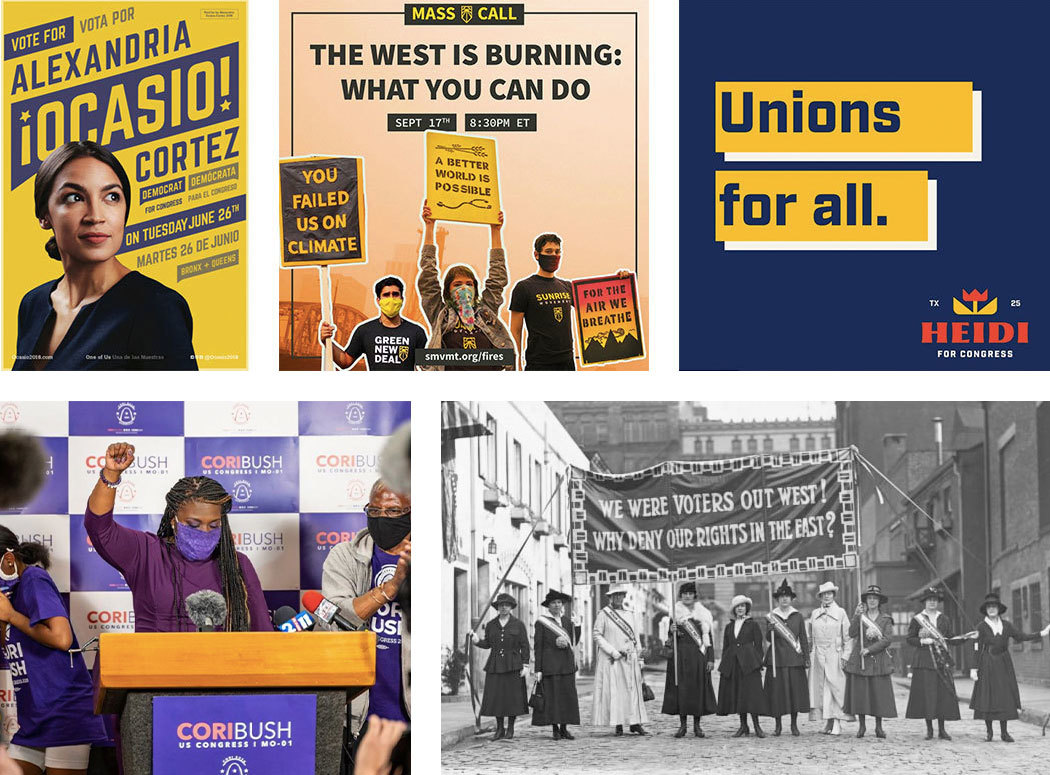 A grid of campaign design examples, including contemporary material from Alexandria Ocasio-Cortez and Cori Bush, and a vintage shot of a group of Suffragists with a banner on an urban cobblestone street.