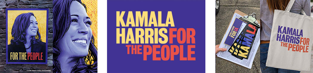 Three Kamala Harris campaign designs: her For the People slogan and portrait, the campaign's purple, yellow, and red logotype, bumper stickers, and a tote bag.