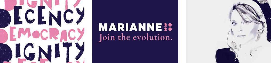 Campaign material for Marianne Williamson, including a roughly stenciled poster, her Join the evolution slogan, and a heavily stylized brushed portrait.