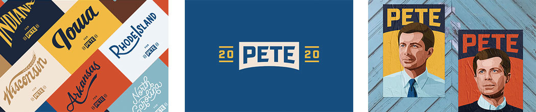 Examples of Pete Buttigieg campaign artwork, including individual state flyer, his logotype, and illustrated portraits.