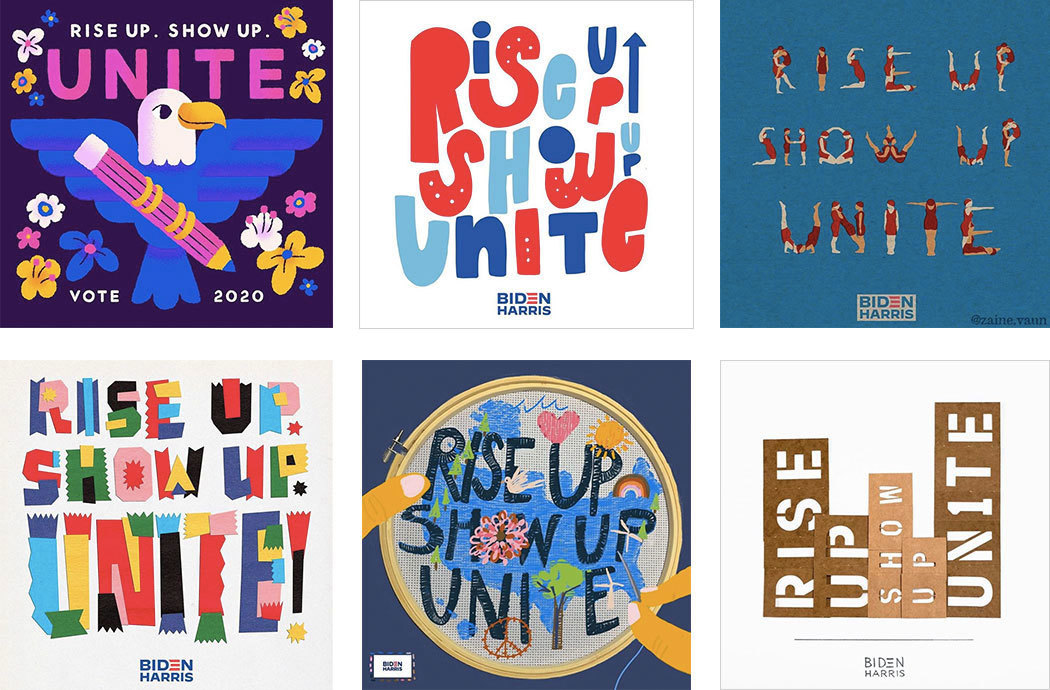 Six colorful examples of Rise Up, Show Up, Unite artwork by different illustrators in variety of styles.