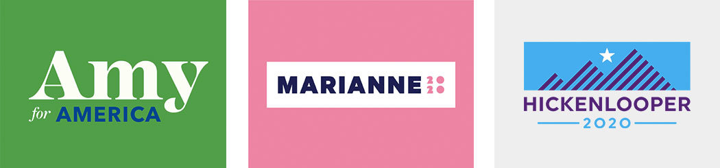 A green white and blue Amy for America logo, a pink and white Marianne 2020 logo, and a blue and purple Hickenlooper 2020 logo.