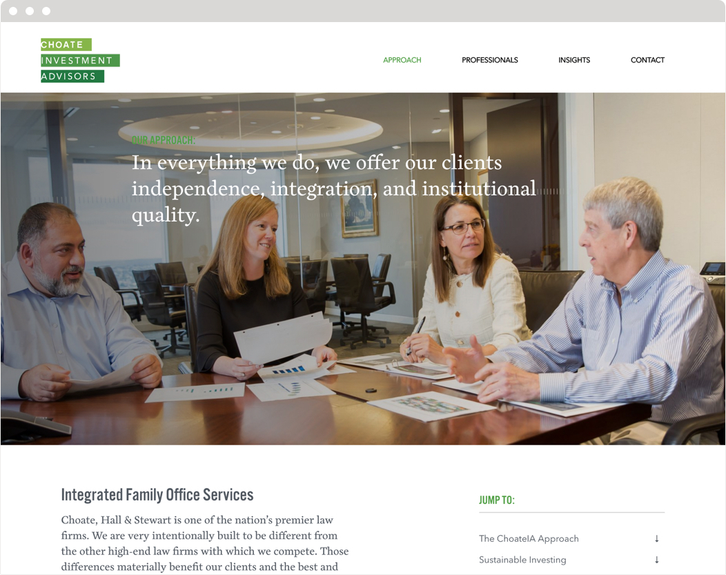 The approach section of Choate Investment Advisors website, headed by a photo of four staff members at a conference table.