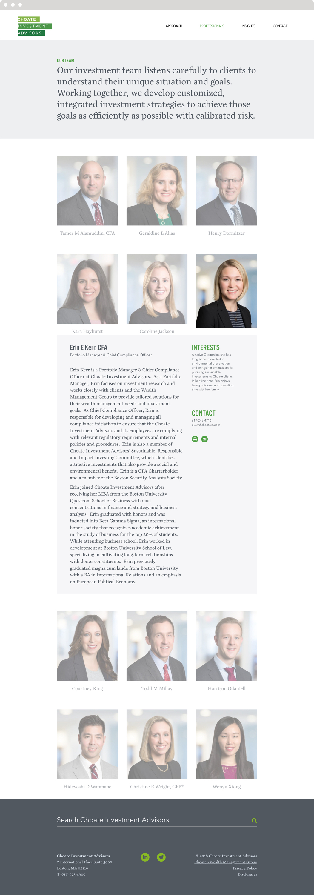 The professionals section of Choate Investment Advisors website, showing headshots and bios of the firm's lawyers.