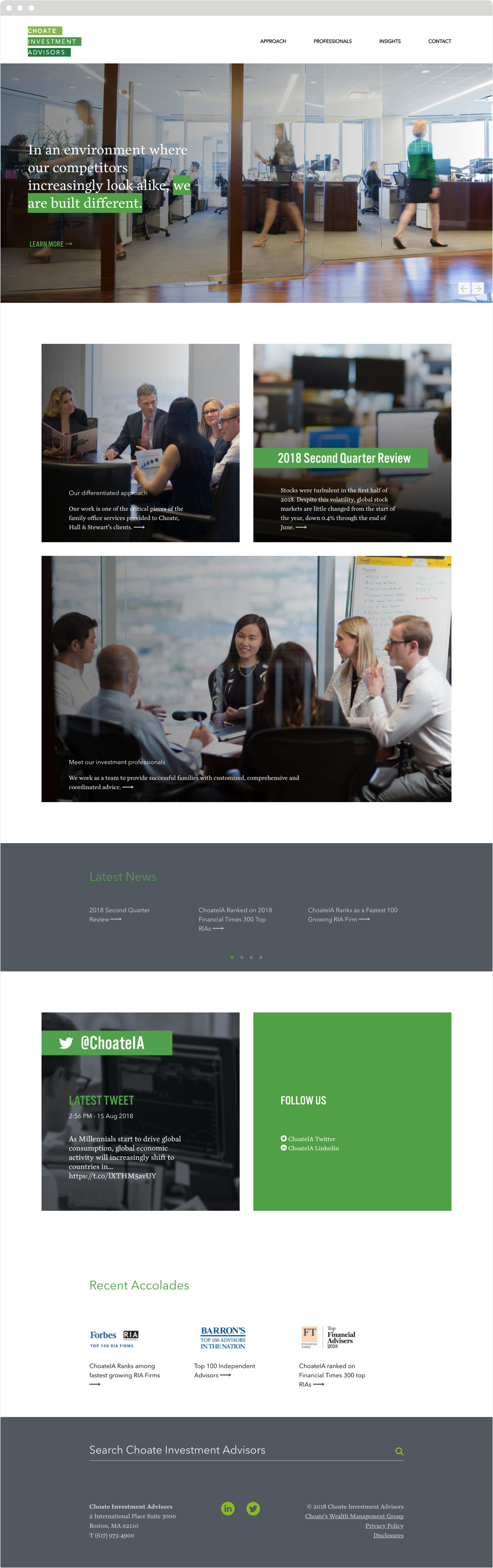 """The Choate Investment Advisors web home page, headed by their logo and brand tagline """"We are built different."""""""
