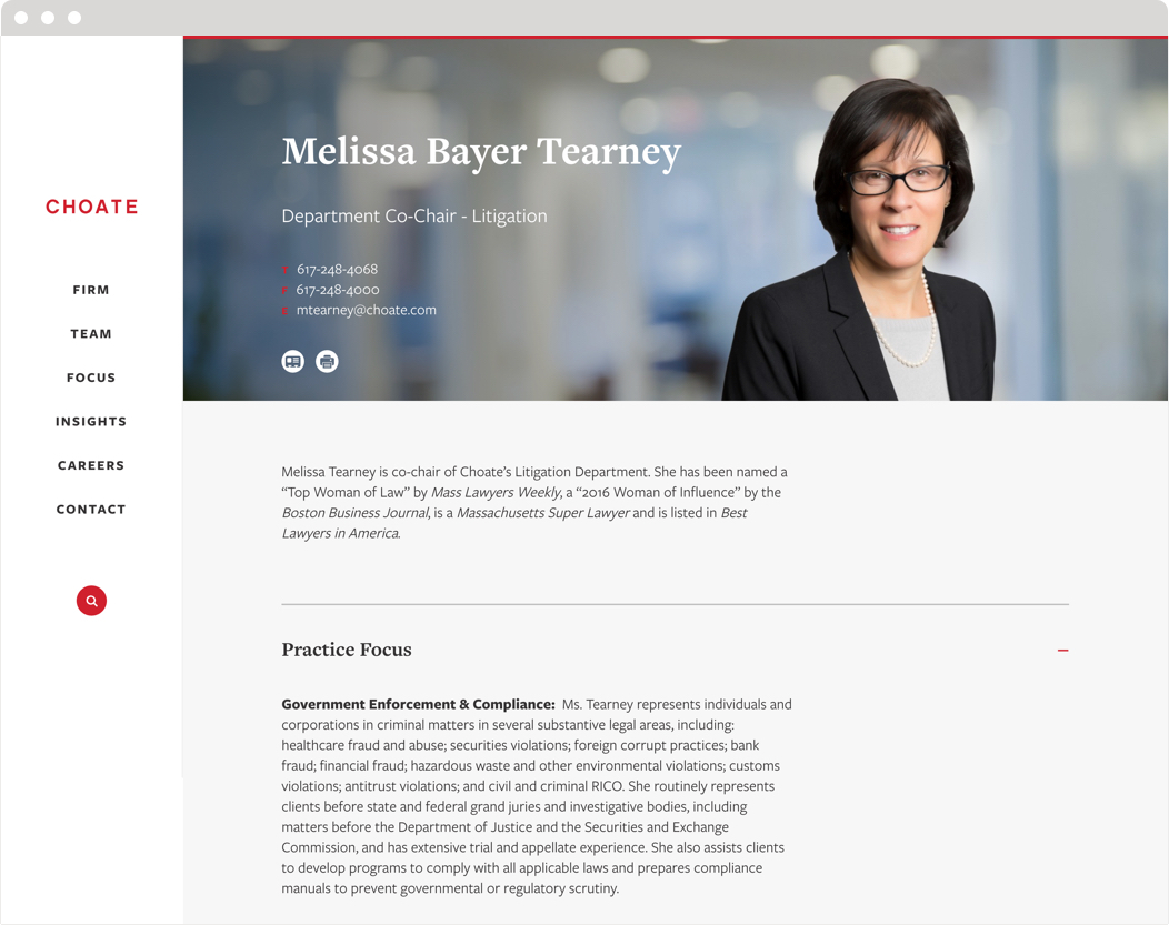 An example of a lawyer biography page from the Choate law firm website.