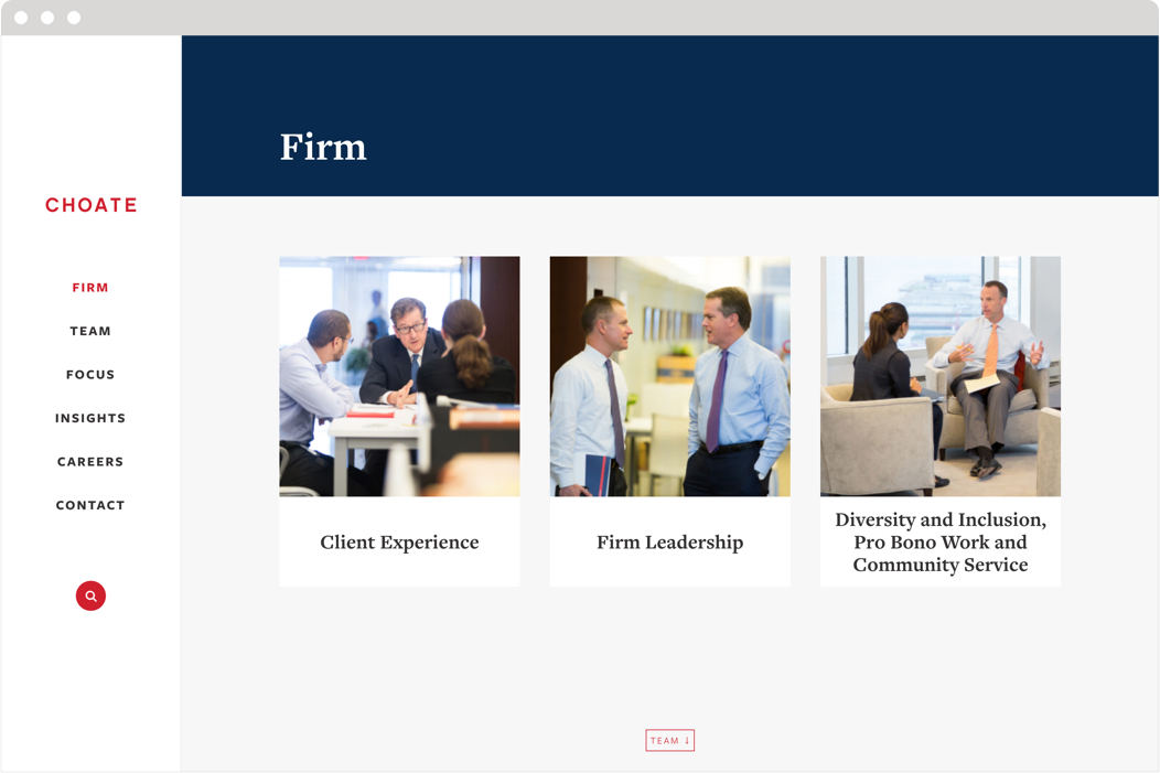 The firm about us page from the Choate law firm website.