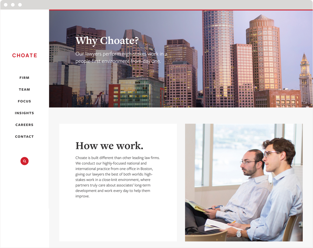 "The ""how we work"" section of the the Choate law firm website."