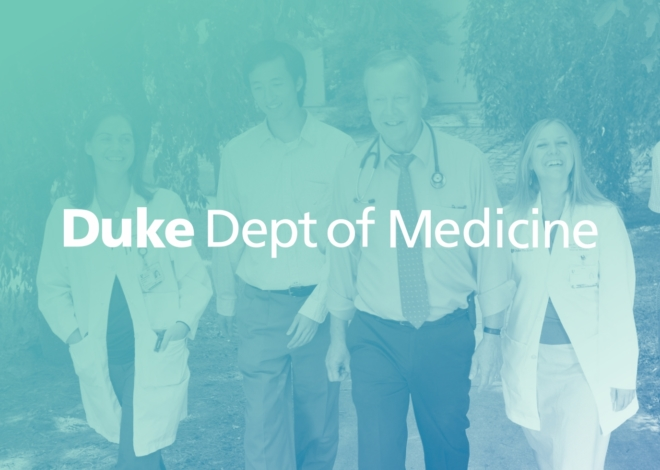 Duke University Department of Medicine logotype in white over a green tinted photo of a group of faculty and students walking