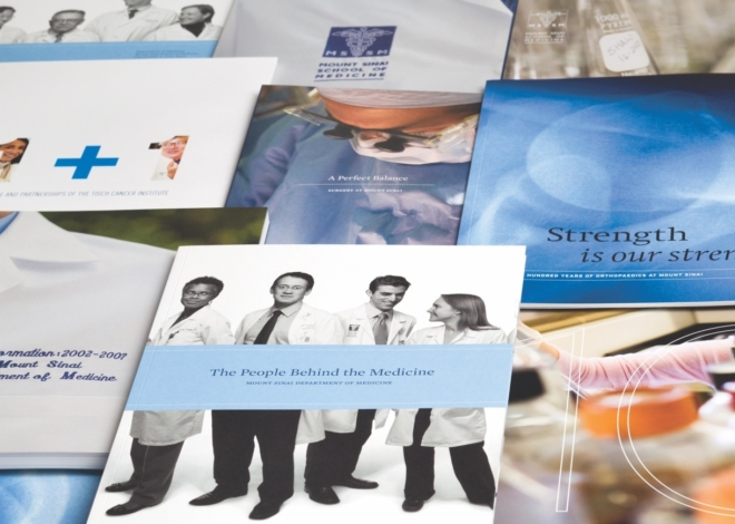 A table full of Mount Sinai Medical Center brochures. with images of doctors and titles like, the people behind the medicine.