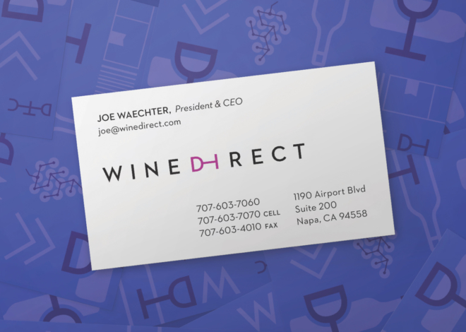Wine Direct business card with President & CEO Joe Waechter's contact information on a purple backdrop of brand icons.