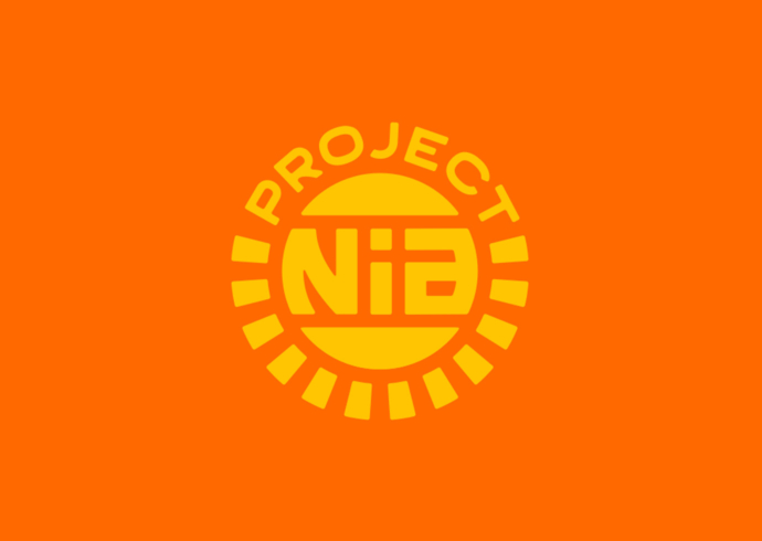 The Project Nia logo, with yellow-gold type set in a circular motif on a deep orange background.